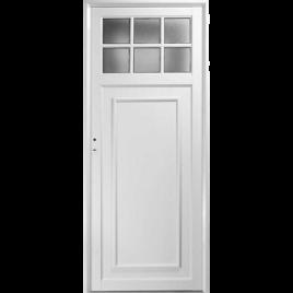 Puerta de aluminio tablero fenólico un cuarto vidrio