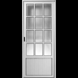 Puerta de aluminio tablero simple tres cuartos vidrio repartido