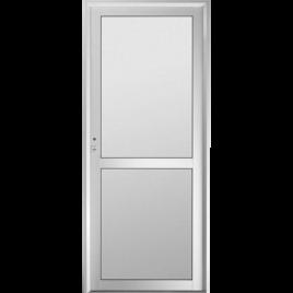 Puerta de aluminio tablero tubular vidrio entero